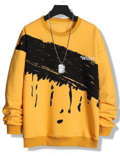 Paint Splatter White Print Crew Neck Sweatshirt - Bright Yellow Xs