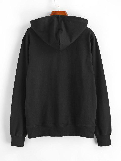 best Pullover Los Angeles Graphic Front Pocket Hoodie - BLACK L Mobile