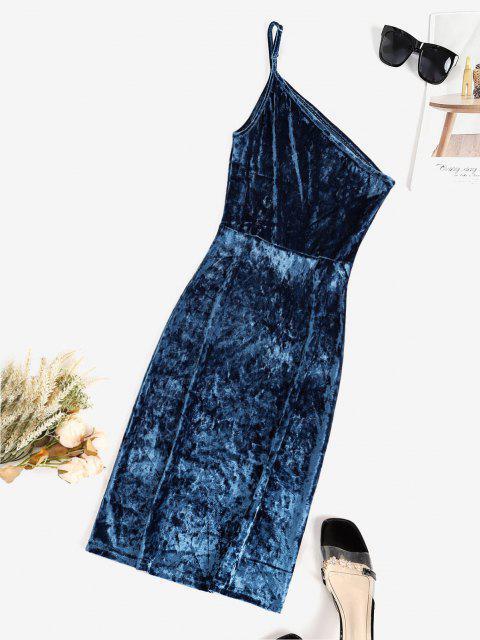Mini Vestito Aderente in Velluto a Monospalla - Blu L Mobile