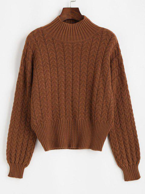 new Tie Cut Out Back Cable Knit Sweater - DEEP COFFEE ONE SIZE Mobile