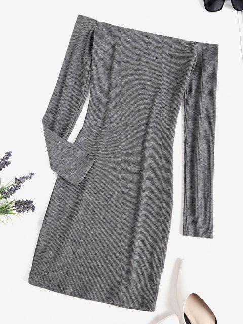 lady Chain Ribbed Off Shoulder Mini Dress - DARK GRAY M Mobile