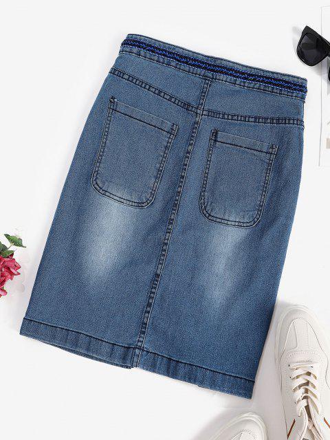 best Front Slit Braided Trim Denim Bodycon Skirt - BLUE XL Mobile
