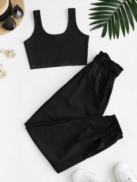 women Ribbed Cropped Belted Paperbag Pants Set - BLACK M Mobile
