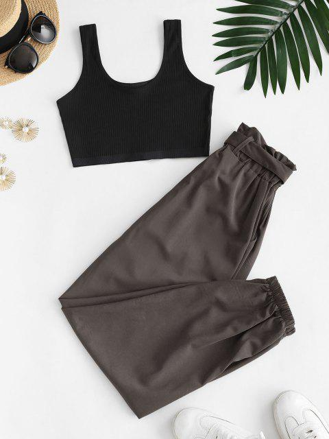 fancy Ribbed Cropped Belted Paperbag Pants Set - TAUPE S Mobile