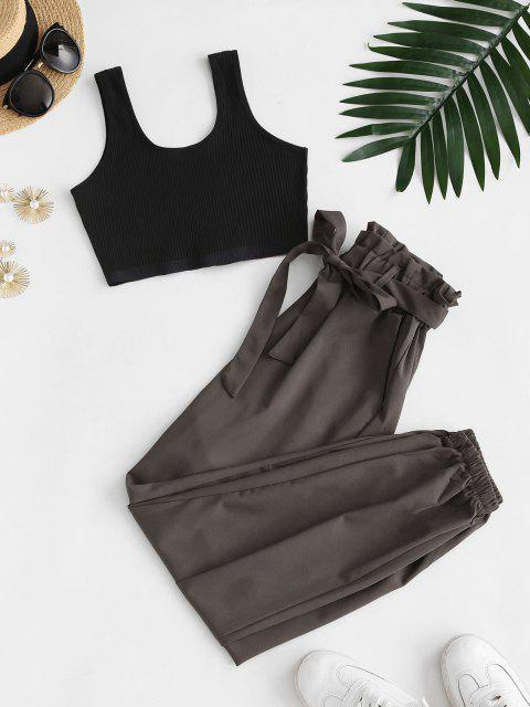 unique Ribbed Cropped Belted Paperbag Pants Set - TAUPE M Mobile