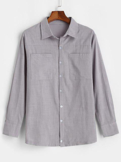 sale Double Pockets Button Up Shirt - GRAY M Mobile