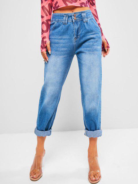 trendy Dual Button High Rise Pencil Mom Jeans - DENIM BLUE L Mobile