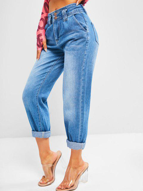 shops Dual Button High Rise Pencil Mom Jeans - DENIM BLUE XL Mobile