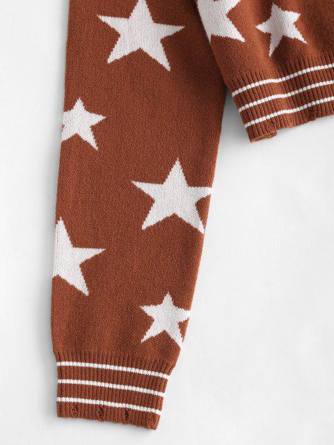V Ausschnitt Stern Graphik Streifen Panel Pullover - Kaffee Eine Größe Mobile