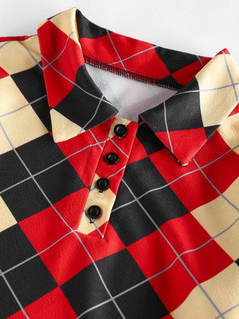 womens ZAFUL Argyle Button Placket Bodycon Dress - MULTI S Mobile