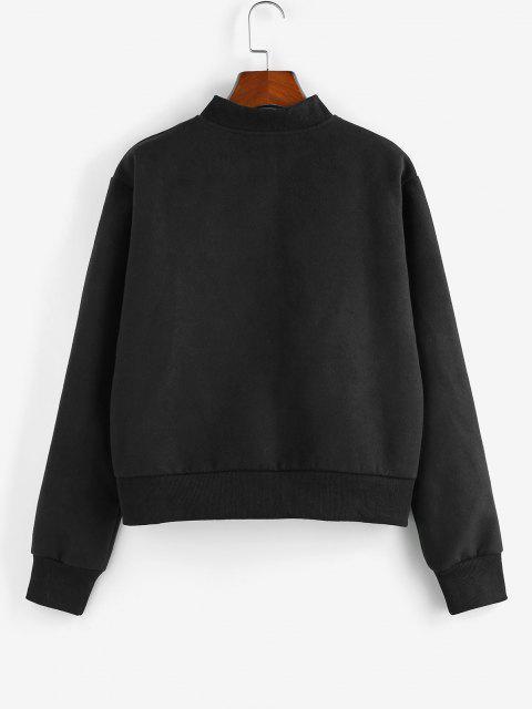 affordable ZAFUL Zip Up Plain Ribbed Trim Jacket - BLACK M Mobile