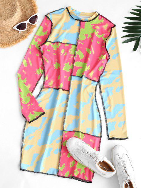 buy Reverse Stitching Neon Camo Patchwork Slinky Dress - MULTI M Mobile