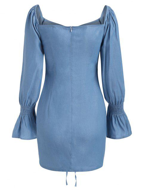unique ZAFUL Poet Sleeve Cinched Front Chambray Mini Dress - LIGHT BLUE M Mobile