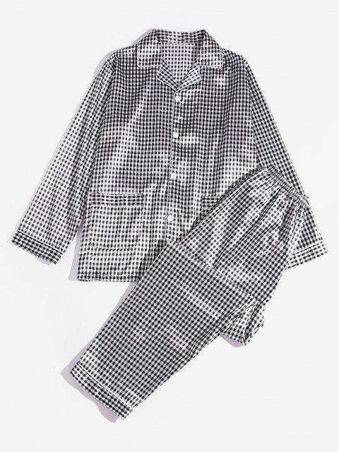 Kariertes Muster Pyjama Set - Schwarz 2XL Mobile