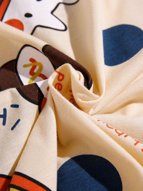 women Slogan Cartoon Pattern Colorblock Pajama Set - BEIGE XS Mobile