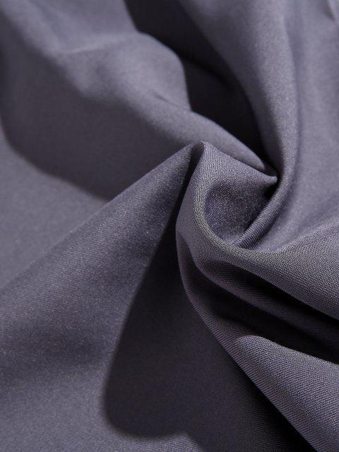 Pantalones Rayados Cintura Elástica Bolsillo Lateral - Gris XS Mobile