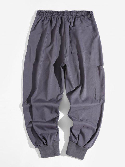 outfit Elastic Waist Side Pocket Beam Feet Pants - GRAY XL Mobile