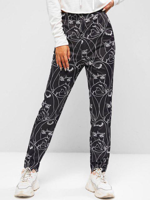 buy High Waisted Pop Art Print Tapered Pants - BLACK S Mobile