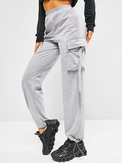 buy ZAFUL Pockets Pull On Sweatpants - LIGHT GRAY M Mobile