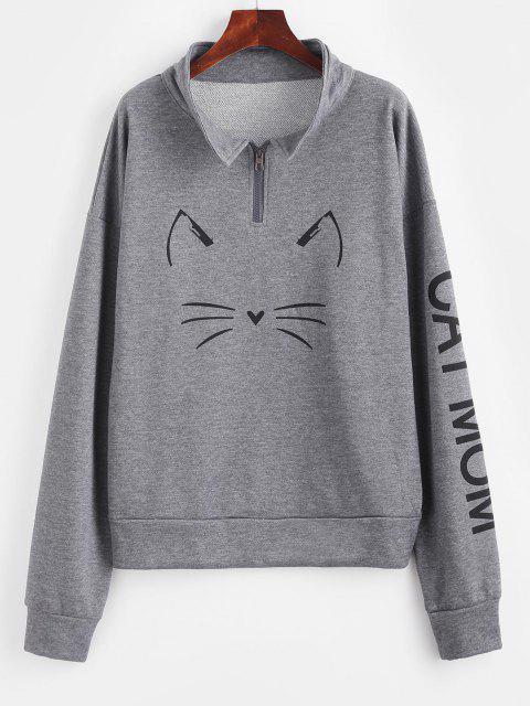 Sweat-shirt Graphique Chat à Quart Zip à Goutte Epaule - Jet gris M Mobile