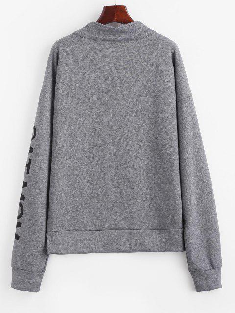 online Drop Shoulder Cat Graphic Quarter Zip Sweatshirt - JET GRAY L Mobile
