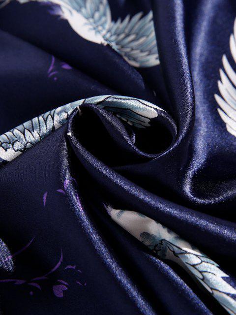 new Flying Crane Print Pajama Set - CADETBLUE XS Mobile