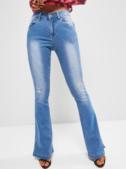 womens Mid Rise Distressed Flare Jeans - BLUE XL Mobile