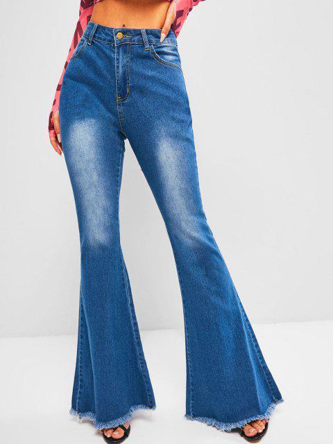 ladies High Waisted Frayed Hem Flare Jeans - BLUE L Mobile