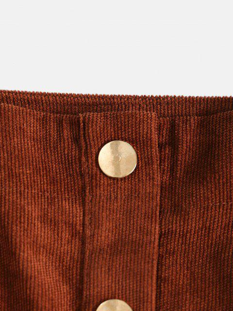 trendy Corduroy Button Fly Mini Skirt - COFFEE M Mobile