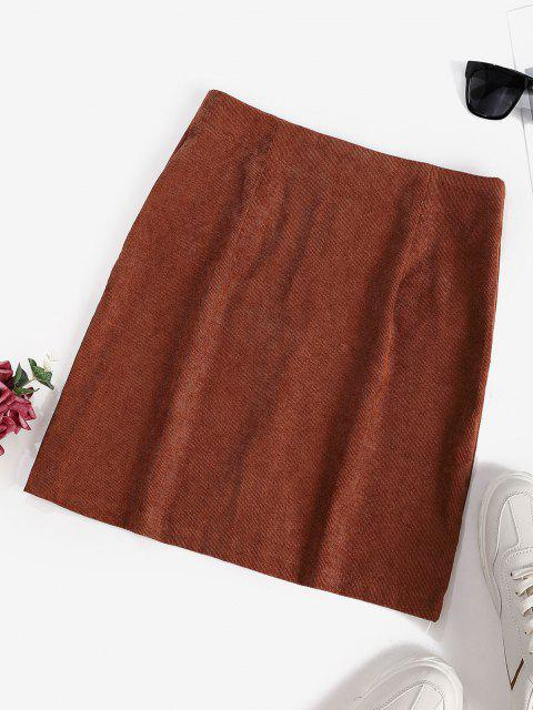 outfit Corduroy Button Fly Mini Skirt - COFFEE S Mobile
