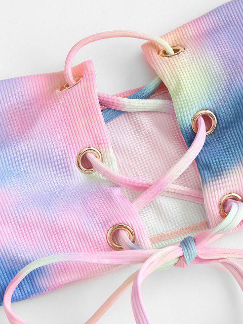 ZAFUL Gerippter Krawattenfärbende Bandeau Bikini Badebekleidung mit Schnürung - Blau S Mobile