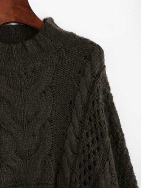 lady Cable Knit Chunky Oversize Sweater - COFFEE ONE SIZE Mobile