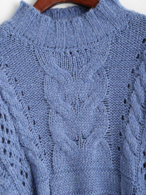 new Cable Knit Chunky Oversize Sweater - BLUE ONE SIZE Mobile