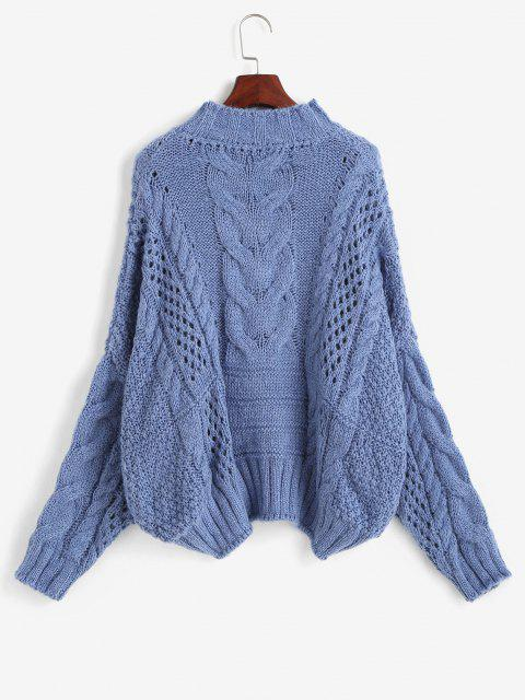 Cable Knit Chunky Oversize Sweater - أزرق حجم واحد Mobile