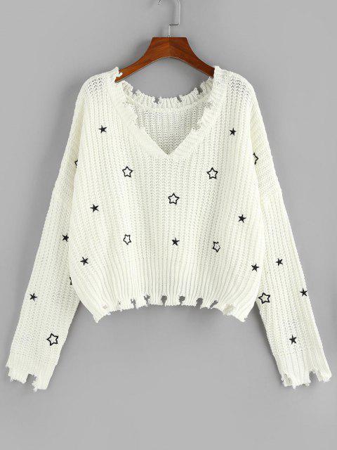 ZAFUL Camisola de Ombro Desgastado Bordado com Estrela - Branco M Mobile