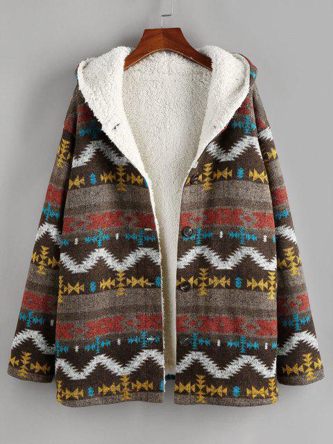 ladies ZAFUL Tribal Drop Shoulder Fleece Lined Hooded Coat - MULTI-A M Mobile