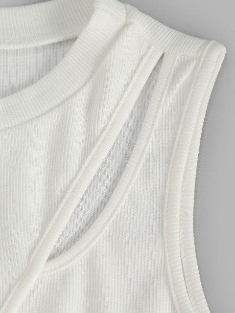 outfits Ribbed Cut Out Cinched Side Tank Dress - WHITE S Mobile
