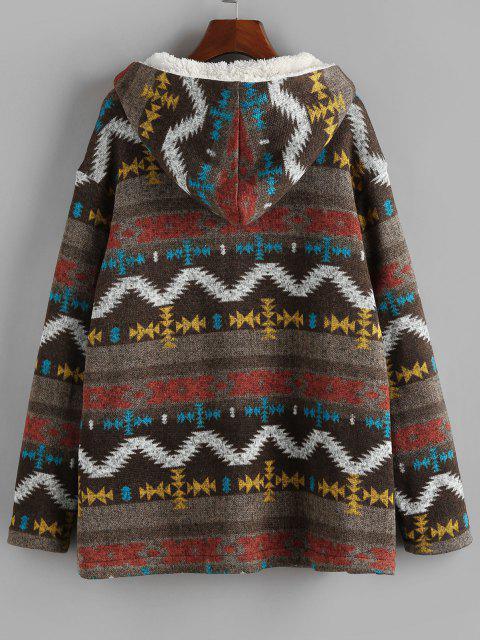 ZAFUL Abrigo con Capucha de Lana con Estampado Tribual - Multicolor-A S Mobile