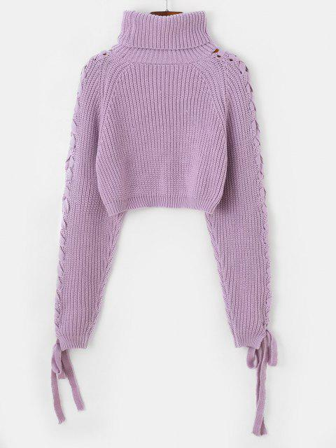 online Lace Up Turtleneck Raglan Sleeve Cropped Sweater - LIGHT PURPLE ONE SIZE Mobile