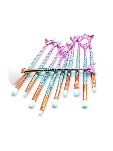 fancy 10 Pcs Gradient Handle Fishtail Multi-function Makeup Brushes Set - LIGHT BLUE  Mobile
