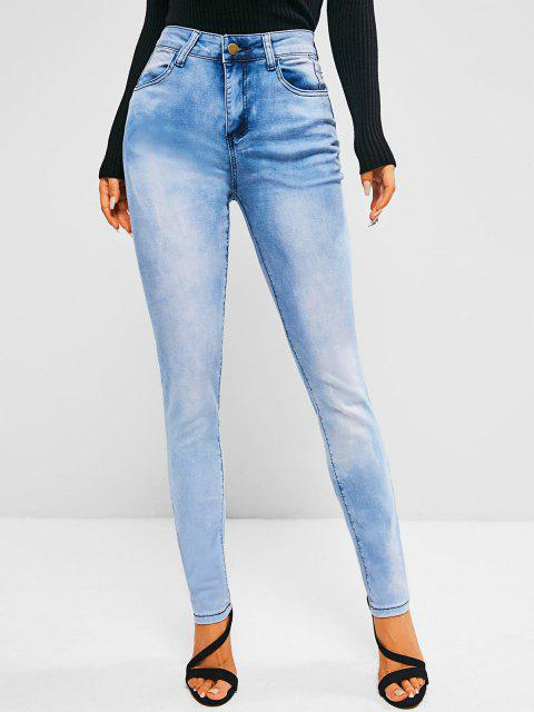 chic Pockets Bleach Wash High Waisted Skinny Jeans - LIGHT BLUE S Mobile