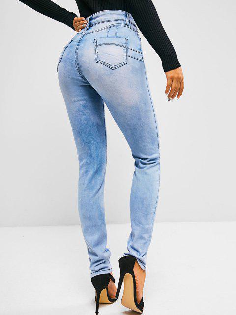 Jean Moulant Délavé à Taille Haute avec Poches - Bleu clair L Mobile