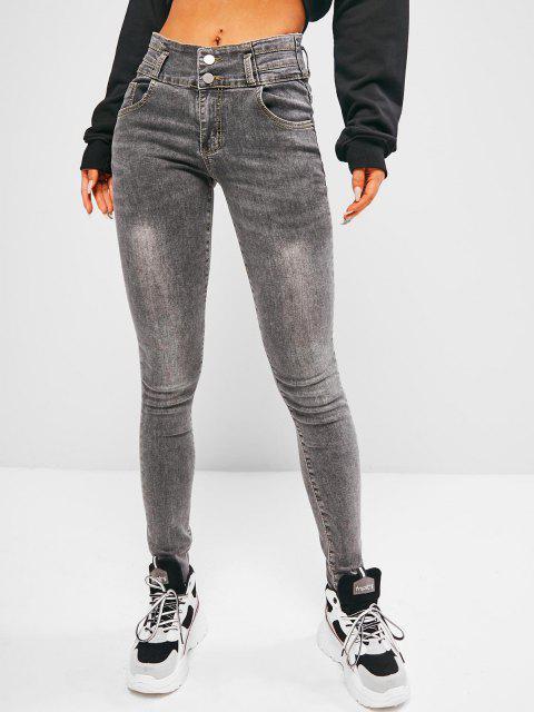 buy Raw Hem High Waist Skinny Jeans - GRAY L Mobile