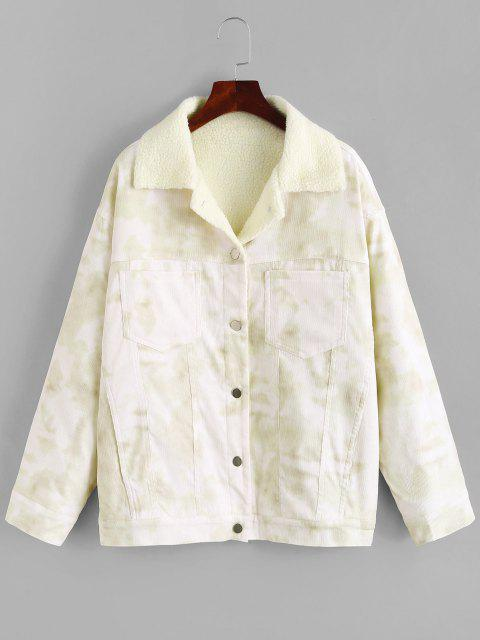 Tie Dye Drop Shoulder Teddy Lined Corduroy Coat - اخضر فاتح M Mobile