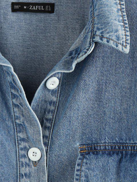 best Drop Shoulder Pocket Denim Jacket - BLUE S Mobile
