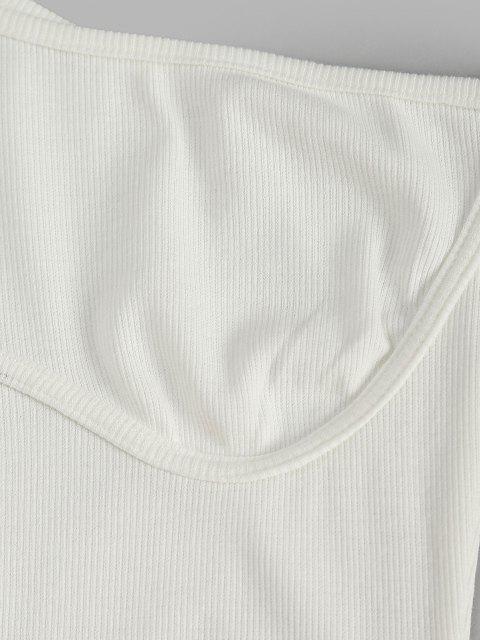 Robe Côtelée à Manches Longues à Une Épaule - Blanc S Mobile