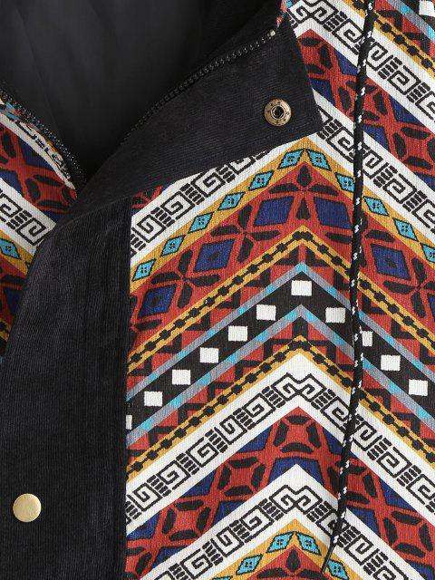 sale Grunge Style Hooded Colorblock Corduroy Jacket - MULTI M Mobile