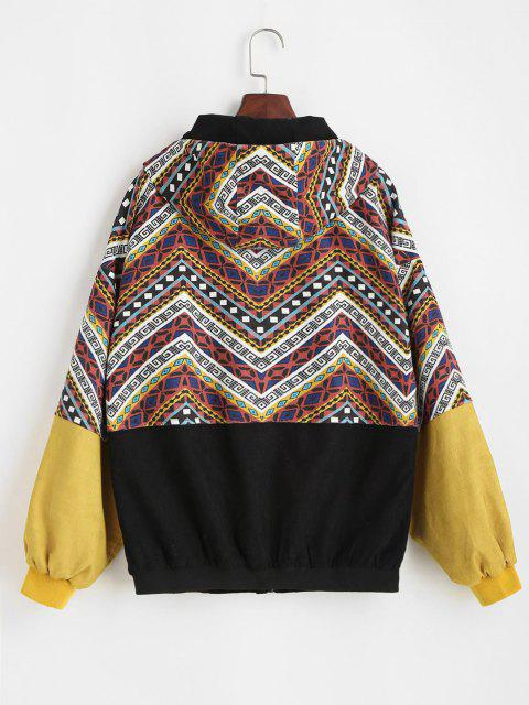 Grunge Style Hooded Colorblock Corduroy Jacket - متعدد S Mobile