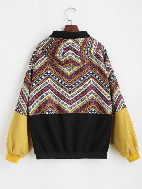 Chaqueta de Pana con Capucha y Color Bloque - Multicolor S Mobile