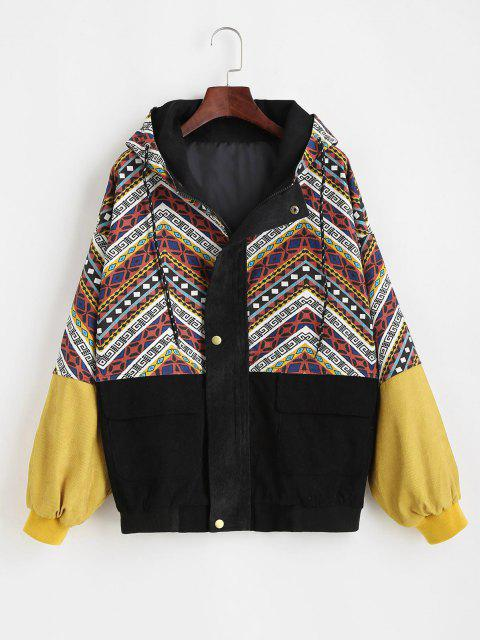 outfits Grunge Style Hooded Colorblock Corduroy Jacket - MULTI S Mobile